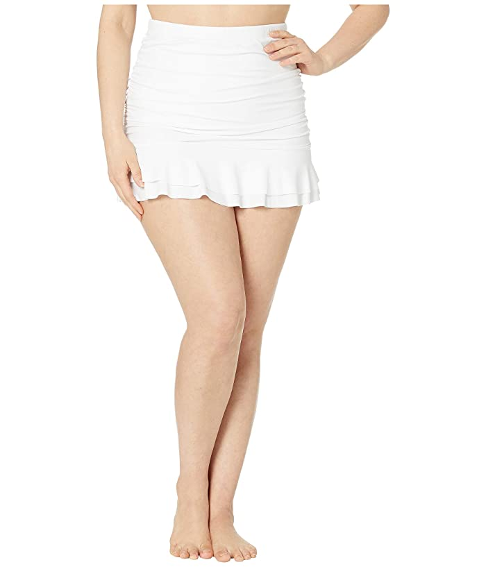 Unique Vintage Plus Size Skirted High-Waist Alice Swim Bottoms (White) Women