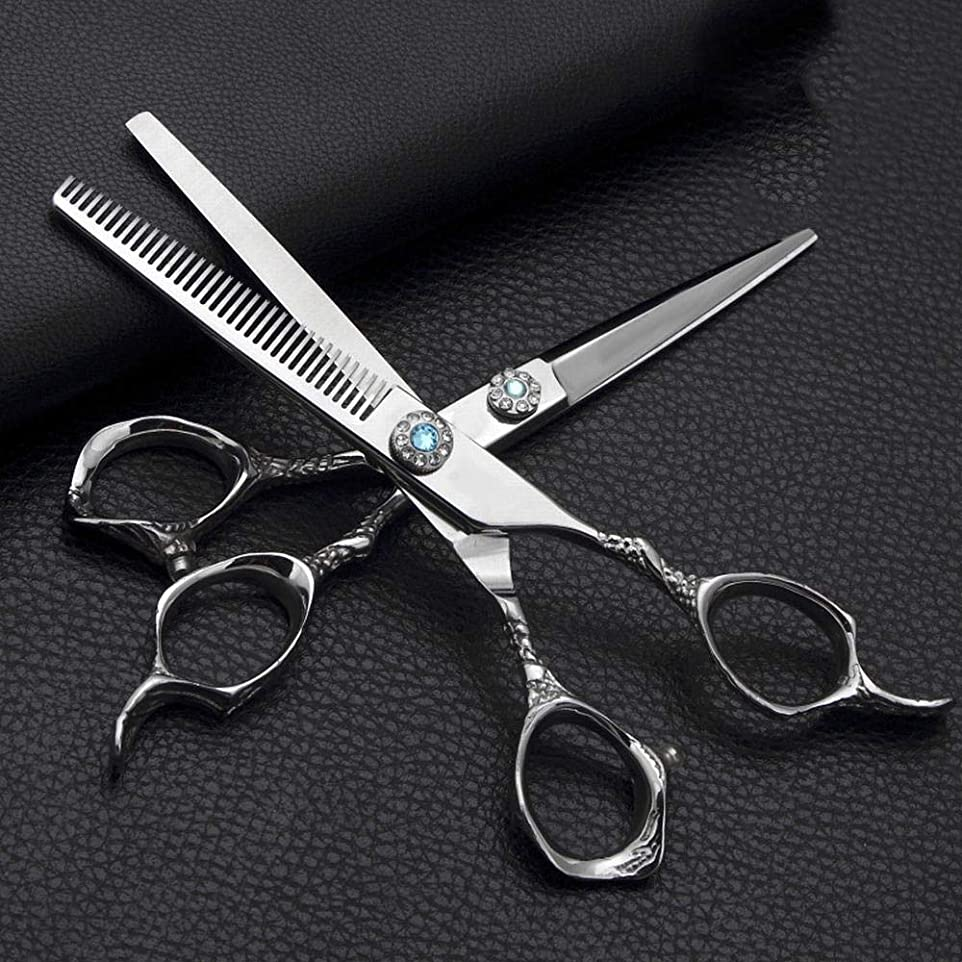 応じるバターレシピGoodsok-jp 6.0インチの理髪はさみ、ステンレス鋼の平らなせん断の歯のはさみの理髪のはさみセット (色 : Silver)