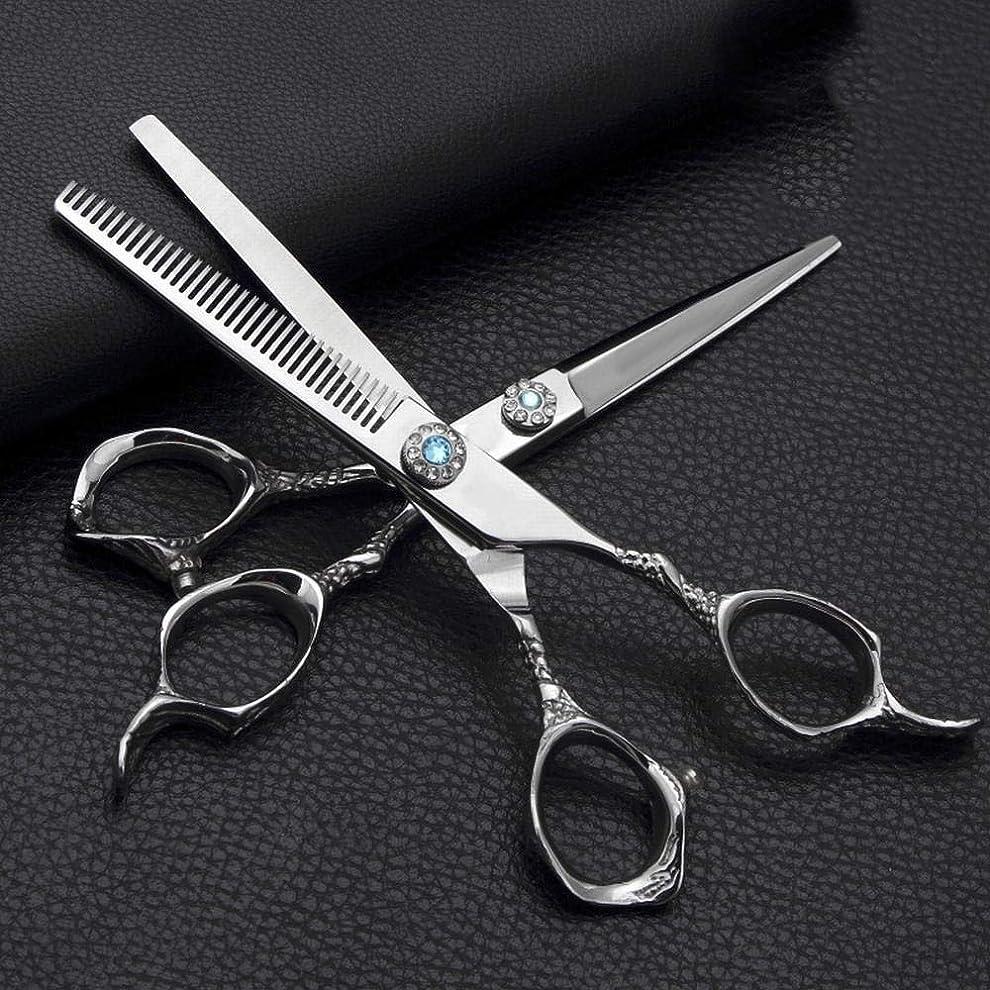 資源統計組み合わせGoodsok-jp 6.0インチの理髪はさみ、ステンレス鋼の平らなせん断の歯のはさみの理髪のはさみセット (色 : Silver)