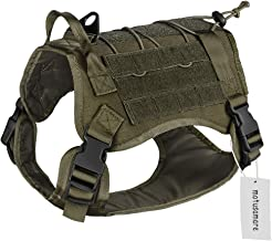 Motusamare Service Dog Vest Training Hunting Molle Nylon Water-Resistant Military Patrol Adjustable Comfortable K9 Tactical Dog Harness with Handle (Camouflage) L Ranger Green