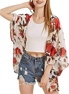 iSkylie Womens Blouse Chiffon Shawl Printed Kimono Cardigan Top Cover Up Blouse Open Front Beachwear Marker Boards Coaches' & Referees' Gear