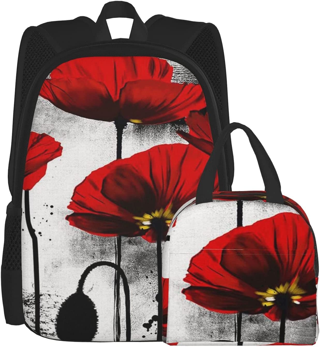 Backpack And Lunch Bag Set Ranking TOP10 2 Ink Limited Special Price Piece P Poppy Flower Beautiful