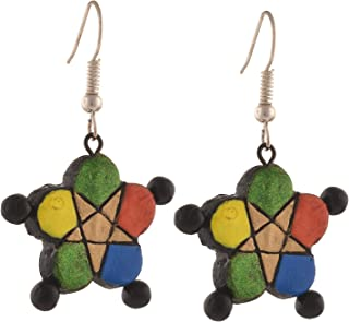 Fashion Handmade Painted Star Shaped Terracotta Hook Earrings Multicolor