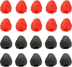 FVVMEED 20 Pieces Artificial Raspberry Fake Fruit Realistic Fruits Lifelike Berry Simulation Plant Photography Props Plastic Ornament for Photo Props Home Decoration Kitchen Table Decor Accessories