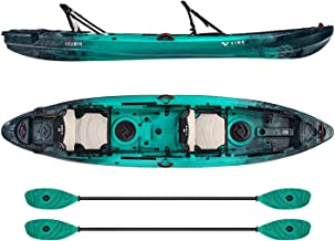 Vibe Kayaks Yellowfin 130T 13 Foot Tandem Angler and Recreational Two Person Sit On Top Fishing Kayak (Caribbean Blue) with 2 Paddles and 2 Hero Comfort Seats - Caribbean Blue Evolve Paddles
