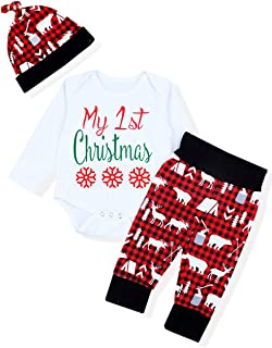 My First Christmas Outfits Baby Boy Romper Newborn Funny Long Sleeve with Hat and Pants Sets 3PC