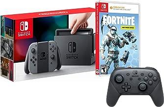 Nintendo Switch Battle Royale Pro Controller Bundle: 1000 V-Bucks, Deep Freeze Set, Frostbite Skin, Pro Controller, Nintendo Switch 32GB Gaming Console with Gray Joy-Con