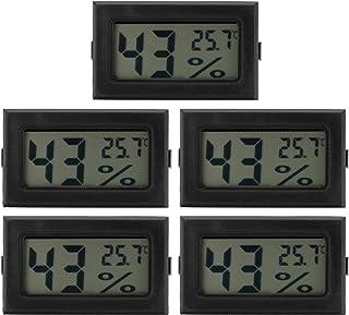 5 Piezas Negro Mini LCD Termómetro Digital Higrómetro Interior Hogar Escritorio Temperatura Humedad Medidor Mini Higrómetro