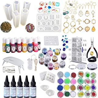 5 Pieces 30ML Epoxy Resin, 11Pcs Silicone Mold 100 Rings+38 Metal Bezel with 2X 5 Meters Tape+36 Decoration+13 Liquid Pigment+Jewelry Making Tool Kit+5 Pcs Copper Wire Lights+ Mini Lamp