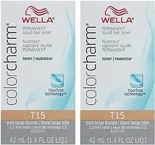 Wella Color Charm Hair Toner T15 Pale Beige Blonde 1.4 oz (2 Pack)