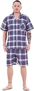 Mens Yarn Dyed Woven Pyjama Set Regular Big Size Check Cotton Blend Shorts M-5XL