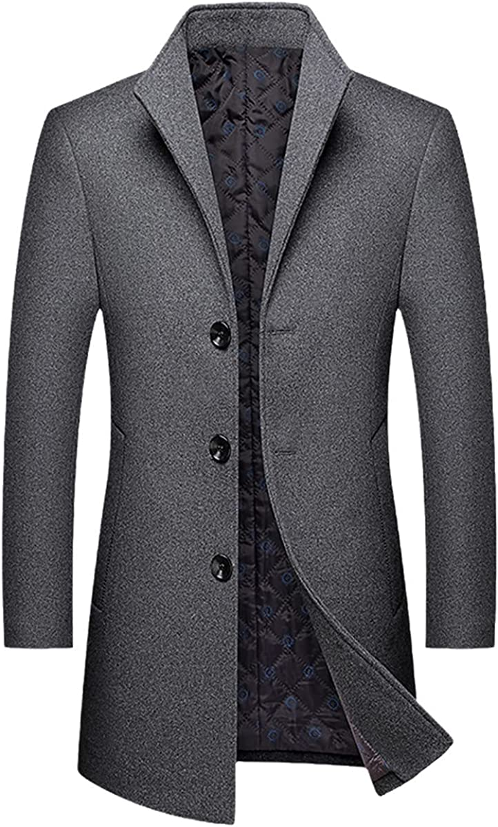 Autumn And Winter Men's Casual Long Wool Coat/Male Solid Color Lapel Single-Breasted Trench Coat