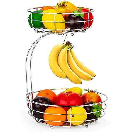 Corbeille à fruits 2 couches - Argent