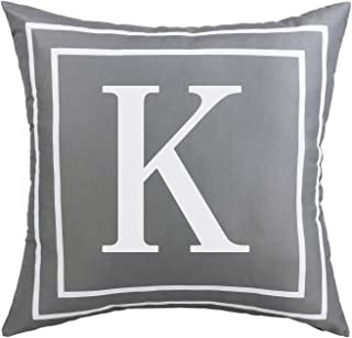 ASPMIZ Throw Pillow Covers English Alphabet K Pillow Covers, Initial Pillowcases Gray Letter Throw Pillow Covers, Decorative Cushion Cover for Bed Bedroom Couch Sofa (Gray, 18 x 18 inch)
