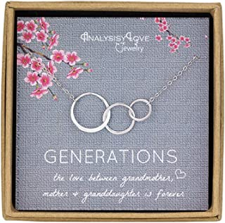 3 Generations Necklace - Sterling Silver Interlocking Infinity 3 Circles Necklace for Grandma Mom Granddaughter, Birthday Jewelry Mothers Day Gift
