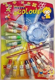 12x WATER COLOUR PAINTS 2 Brushes Watercolour Set Kit For Children Kids Art