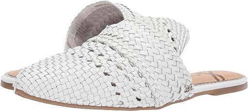 White Woven Metallic Leather
