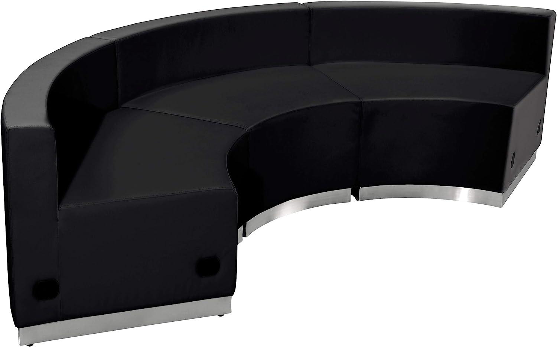 Flash Furniture HERCULES Alon Series Black LeatherSoft Reception Configuration, 3 Pieces