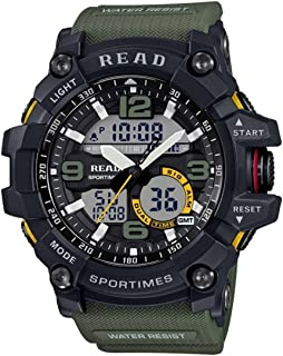 Songlin@yuan  Read R90001 30m Waterproof Luminous and Alarm and Date and Week Display Function Quartz Sports Men's Sports Watch with Rubber Band Fashion (Color : Green)