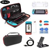 VOICEPTT Estuche Kit de Accesorios Nintendo Swich 16 en 1,Funda de Viaje,2 Protector de Pantalla Vidrio,Carcasa...
