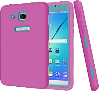 BAUBEY Case for Samsung Tab A6 7.0 2016 SM-T280 T285, Hybrid Heavy Duty Shockproof Impact Resist Hard Rubber Protective Case Cover for Samsung Galaxy Tab A6 7.0 2016 SM-T280 SM-T285 (Hot Pink / Blue)