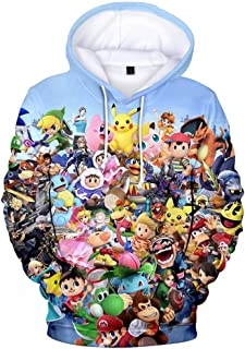 Cheerful D Super Smash Bros. Ultimate Unisex Hoodie 3D Printed Hooded Pullover Sweatshirt for Men Women Boys Girls
