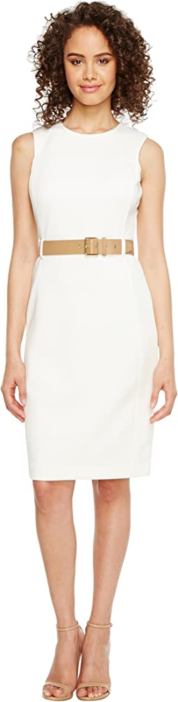 Calvin Klein - Belted Scuba Sheath Dress