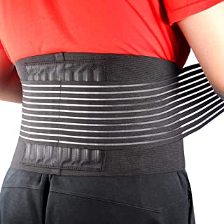 Cotill Back Brace Lumbar Lower Belt Brace and 8 Stable Splints Support with Dual Adjustable Straps and Breathable Mesh Panels for Back Pain and Stress Relief