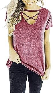 Criss Cross Summer Tops for Women Casual V Neck Shirt Long/Short Sleeves Blouse Strappy Choker T Shirts