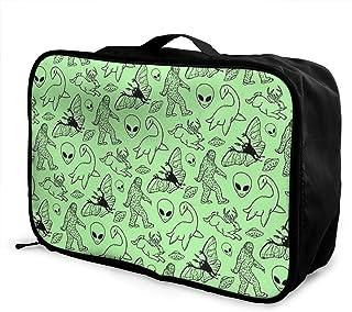 Lightweight Large Capacity Portable Luggage Bag Dinosaur Footprin Travel Waterproof Foldable Storage Carry Tote Bag