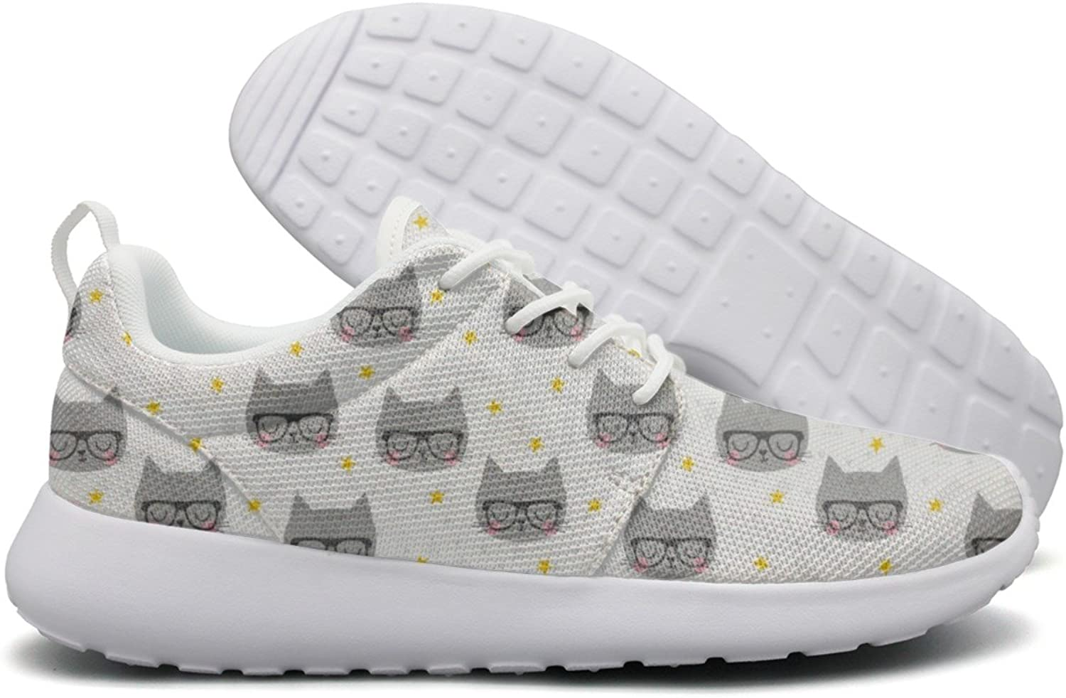 Hoohle Sports Cartoon Black Cat Face with Glasses Womens Roshe One Flex Mesh Mens Casual shoes