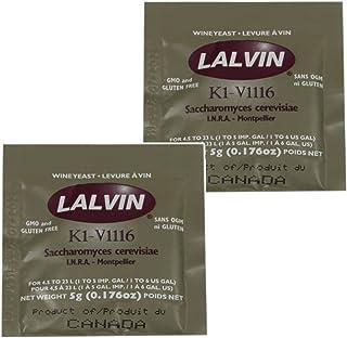 2x Lalvin ICV K1 V1116 Yeast White Wine 5g Sachet Homebrew Wine Making 4.5L-23L