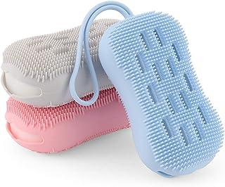 WIOR 3 piezas de silicona para el cuerpo, cepillo para polvo para exfoliar el cuerpo de doble cara para una limpieza profu...