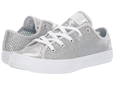 Converse Kids Chuck Taylor(r) All Star(r) Pacific Lights Ox (Little Kid/Big Kid) (Silver/Gnarly Blue/White) Girls Shoes