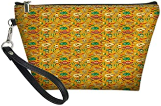 Women Portable Zipper Storage Bag,Energetic Colors Cartoon Style Pattern with Folkloric Mexico Elements,Make-Up Pouch Beauty Cosmetic Bag