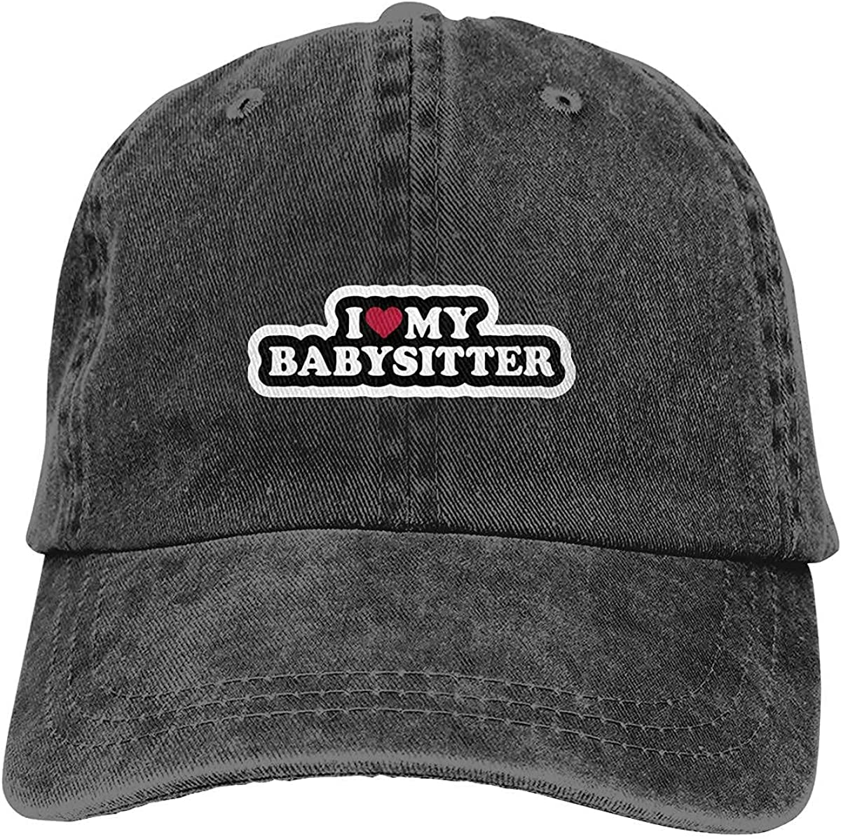 I-Love-My-Babysitter Vintage Hat Classic Washed 100% Cotton Black Adjustable Cowboy hat for Men and Women