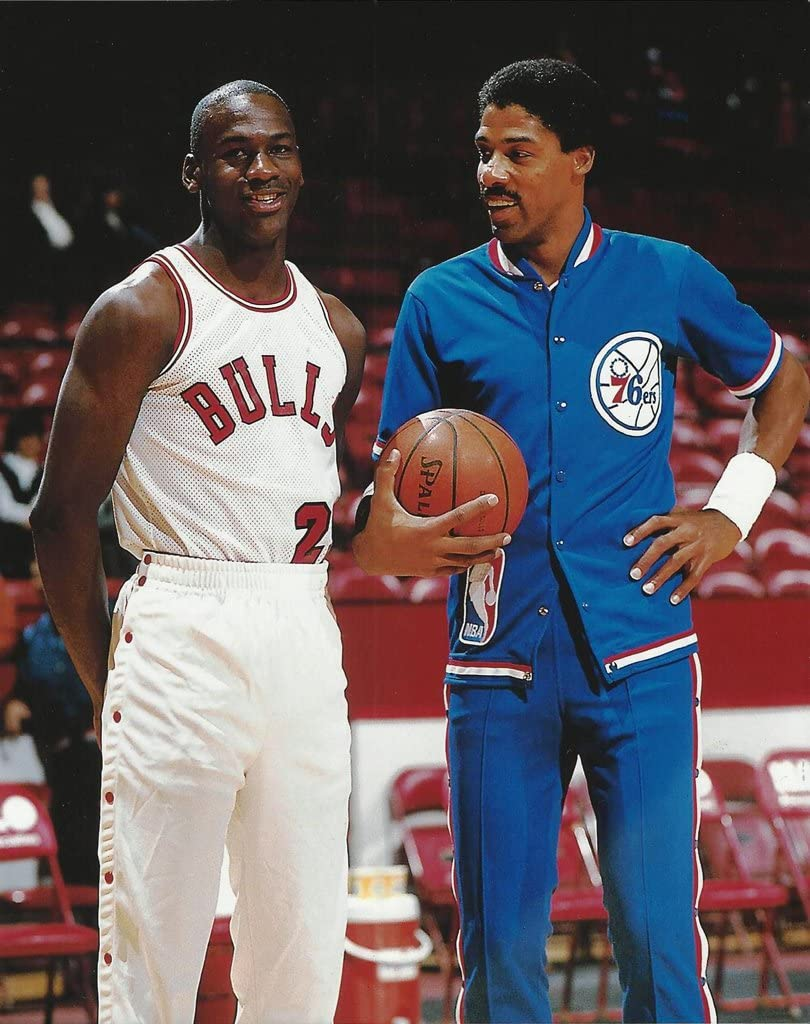 Basketball New life Michael Jordan and Soldering Julius Erving 1984 talk 76er Bulls
