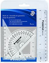 STAEDTLER math set, 4 piece portable wallet, essential for school and home use, 569 WP4,transparent