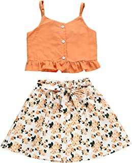 BOIZONTY Kids Baby Girls Outfits Floral Ruffle Off Shoulder Crop Tops + Bowknot Denim Shorts Skirt Set Toddler Summer Clothes - Orange - 3-4 Years