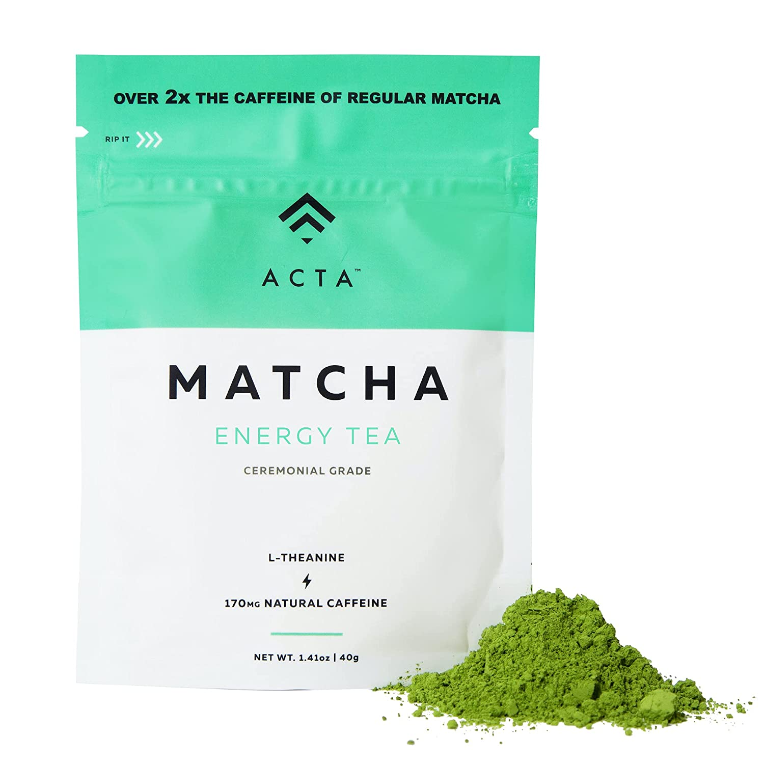 ACTA Matcha Energy Tea 40g, High Caffeine (170mg) Blend for Increased Focus & Clarity, Perfect Coffee Alternative Made with Ceremonial Grade Matcha Green Tea Powder from Japan