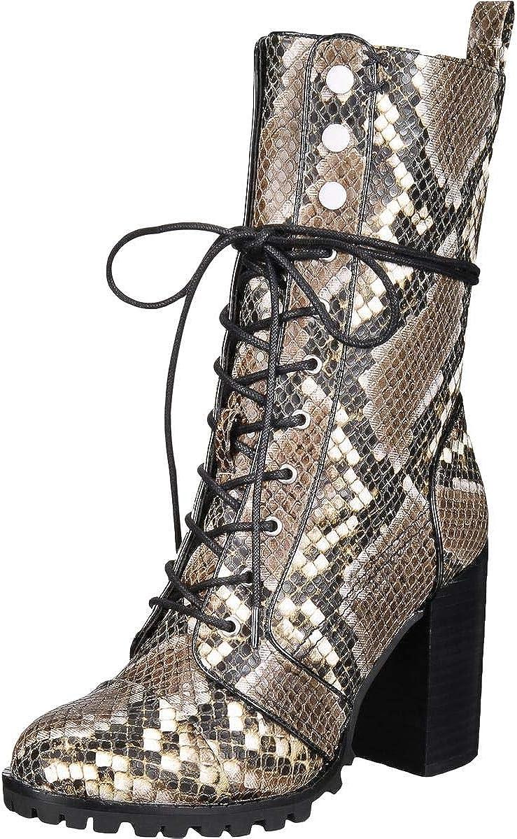 Dolce Vita Womens Ayleen Leather Snake Print Mid-Calf Boots Gray 5 Medium (B,M)