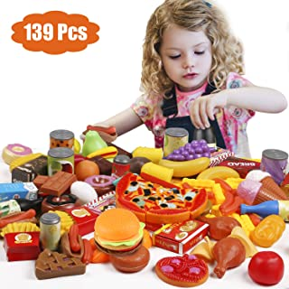 Tencoz Play Food Set, 139 Pieces Play Food Kitchen Toys with Fruits Vegetables Drinks Etc Pretend Play Food Toys Gifts for Kids Toddlers Girls, BPA-Free