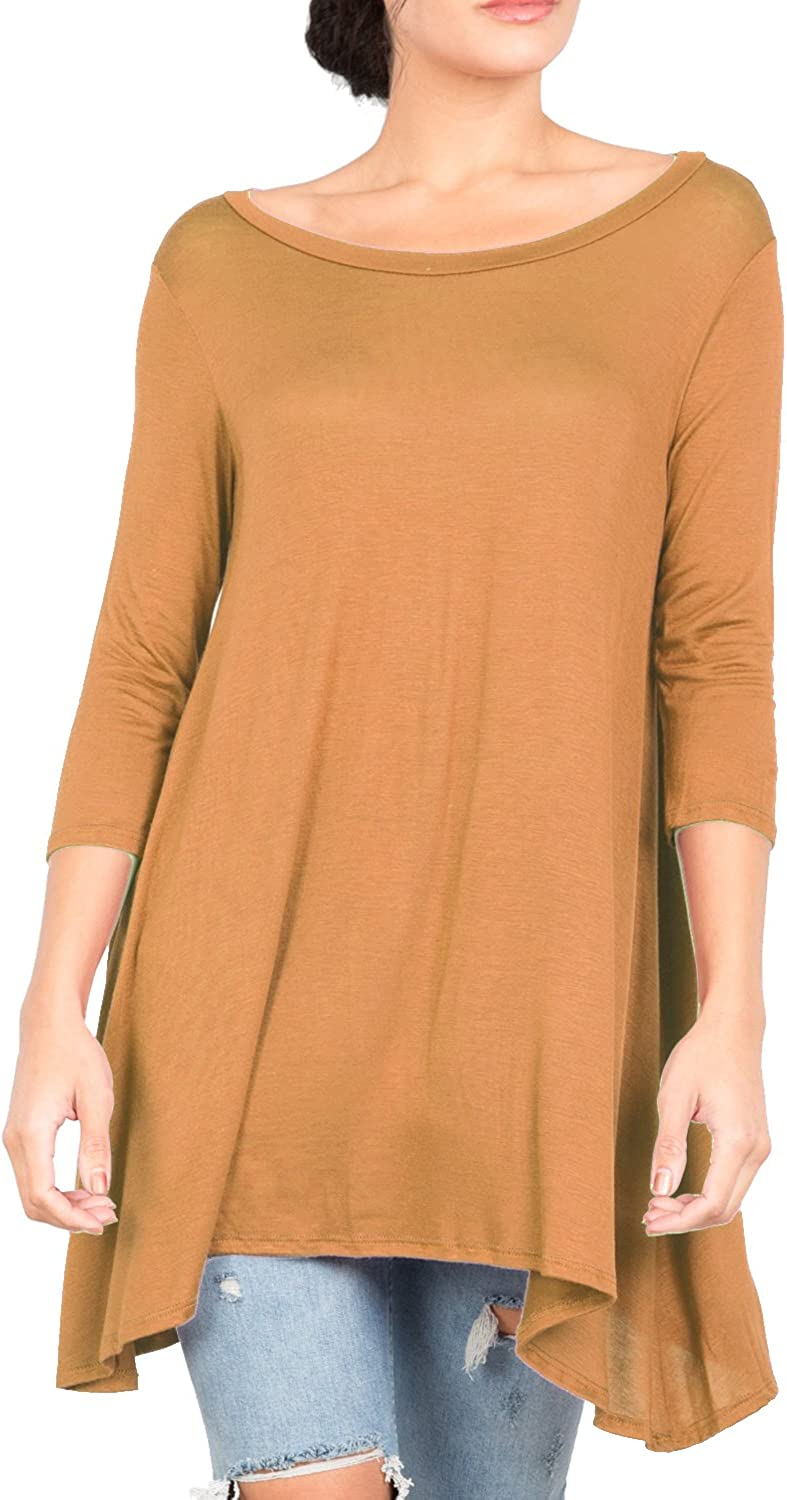 Love In Women's 3/4 Sleeve Round Neck Relaxed Drape Tunic T Shirt Top S~3XL