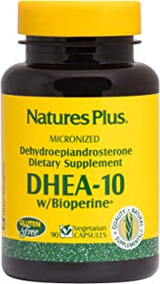 NaturesPlus DHEA-10 with Bioperine - 10 mg, 90 Vegetarian Capsules - Anti-Aging Hormone Support, Mood and Energy Booster, ...