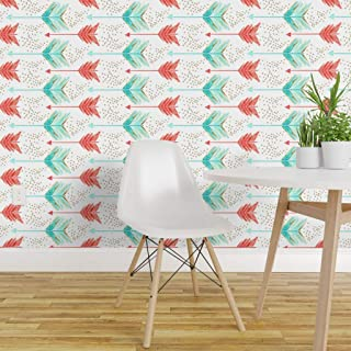 Spoonflower Peel and Stick Removable Wallpaper, Arrow Geometric Watercolor Gold Aqua Coral Print, Self-Adhesive Wallpaper 12in x 24in Test Swatch