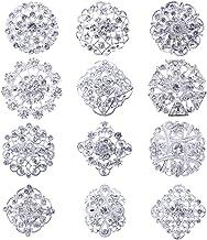 MEEJOA Lot 12pc Clear Rhinestone Crystal Flower Brooches Pins DIY Wedding Bouquet Broaches