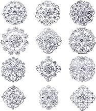 Lot 12pc Clear Rhinestone Crystal Flower Brooches Pins Set DIY Wedding Bouquet Broaches Kit