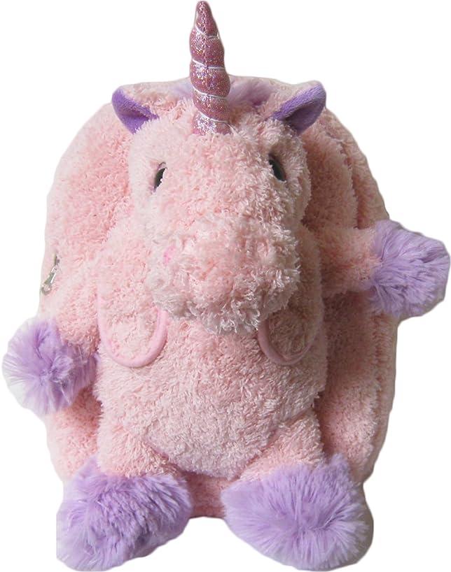 Kreative Kids Adorable Pink Unicorn Plush Backpack w/ Shiny Eyes and Removable Stuffed Animal