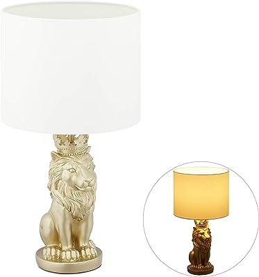 Relaxdays Lampe de table lion, veilleuse avec abat-jour tissu E27, belle lampe de chevet, HxD 47,5 x 25 cm, blanc/or