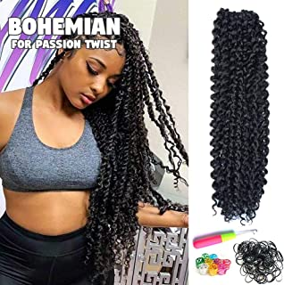 6Pcs Passion Twist Hair 18 Inch Long Bohemian Braids for Passion Twist Crochet Braiding Hair Synthetic Fiber Natural Hair Extension(18